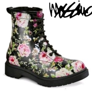 FLORAL Combat Military Boots LIKE NEW